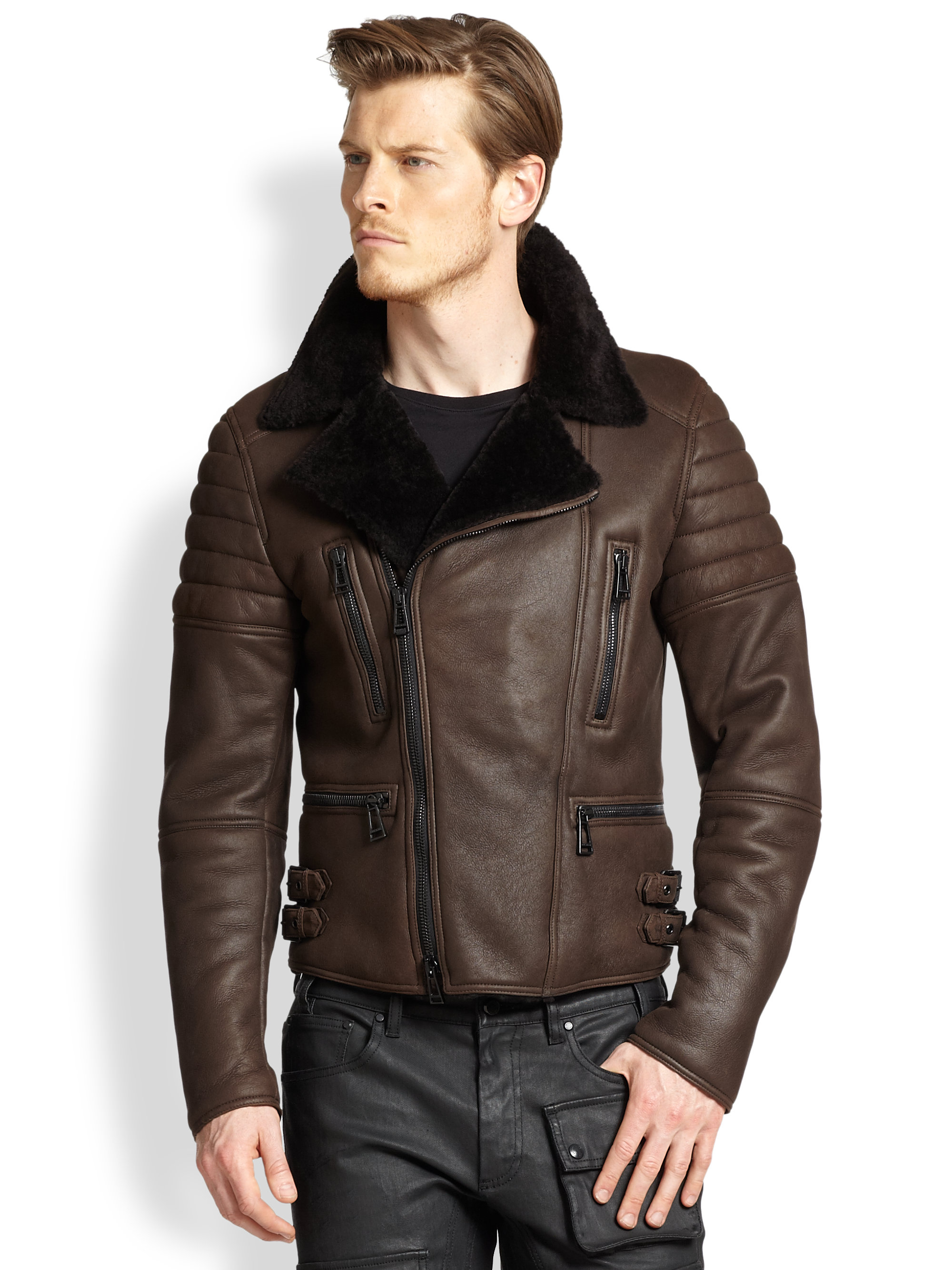 Belstaff Fraser Shearling Jacket in Brown for Men | Lyst