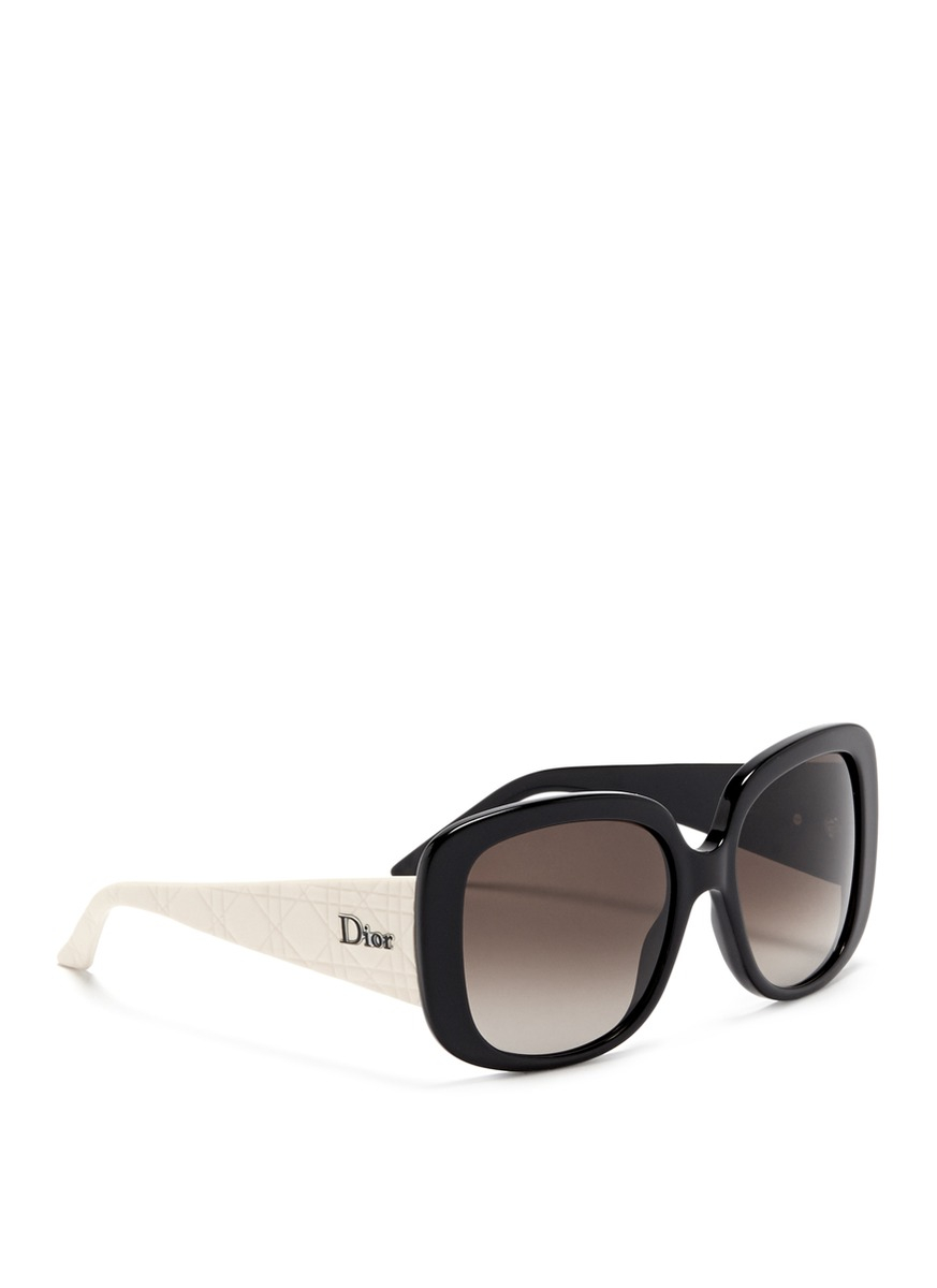 dior 39 lady lady 1 39 cannage temple sunglasses in black lyst. Black Bedroom Furniture Sets. Home Design Ideas