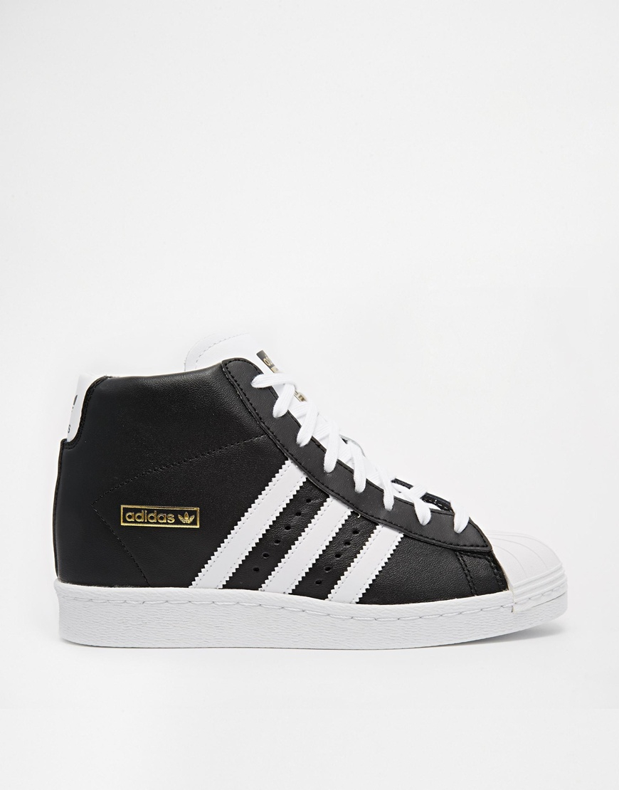 adidas originals superstar concealed wedge black high top sneakers in black lyst. Black Bedroom Furniture Sets. Home Design Ideas