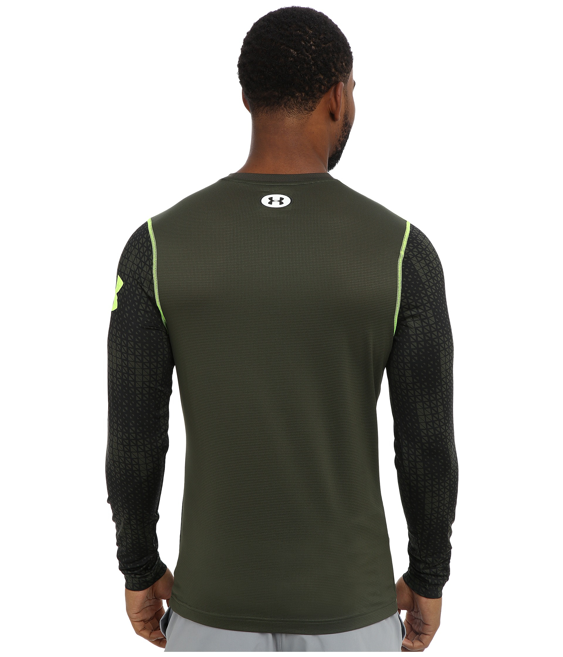 Under armour heatgear sonic fitted printed ls top in green for Under armour men s heatgear sonic fitted t shirt