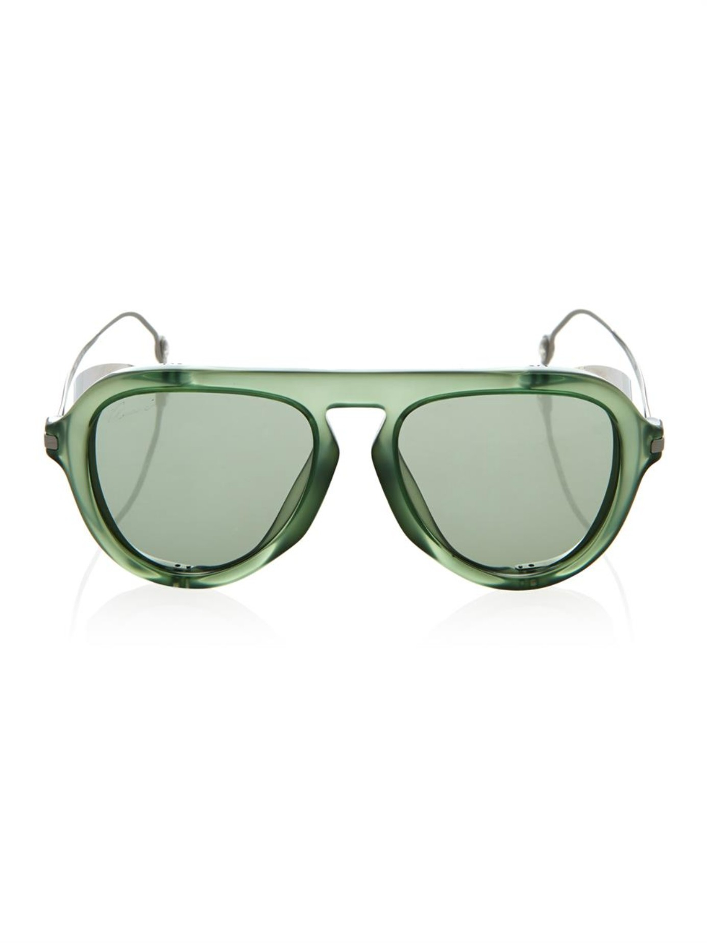 Gucci Sunglasses Green  gucci metal blinker aviator style sunglasses in green lyst
