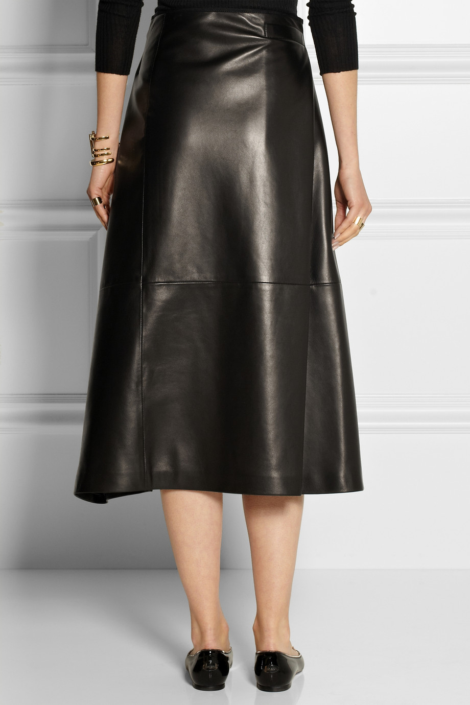 the row ramnar leather midi skirt in black lyst