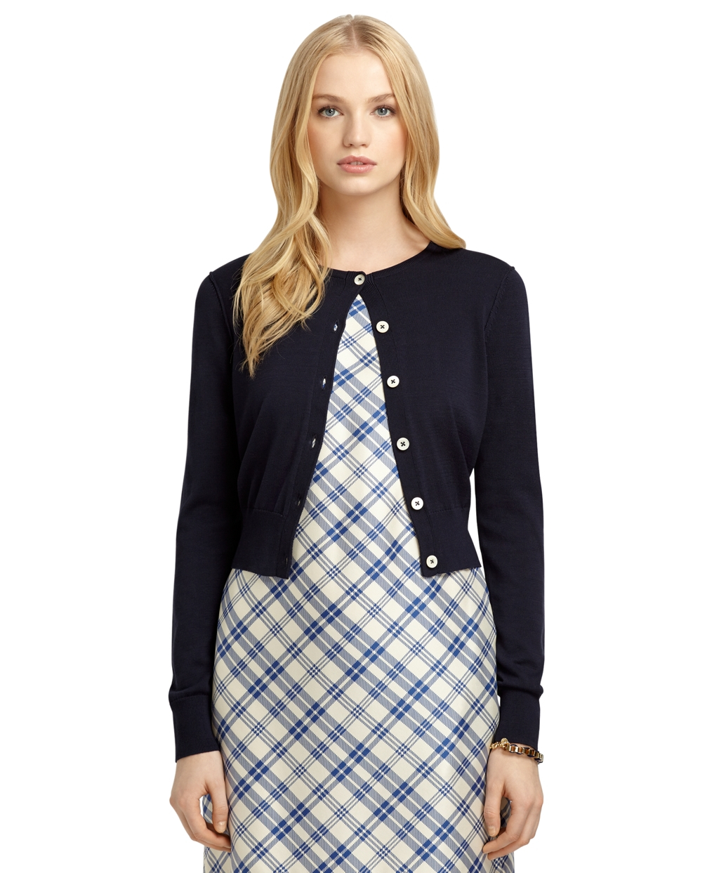 Brooks brothers Long-Sleeve Cropped Cardigan in Blue | Lyst