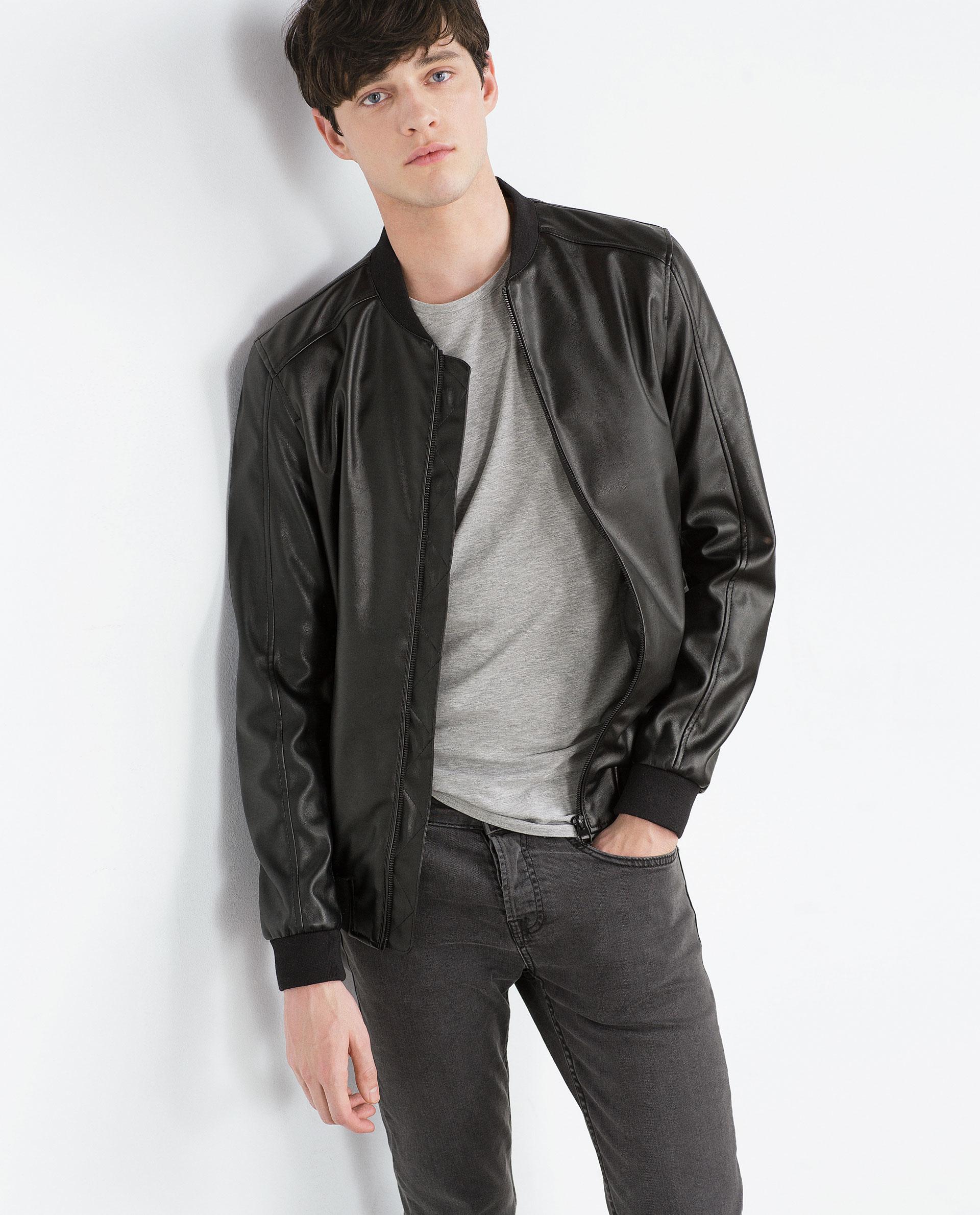 Mens Faux Leather Bomber Jacket - Coat Nj
