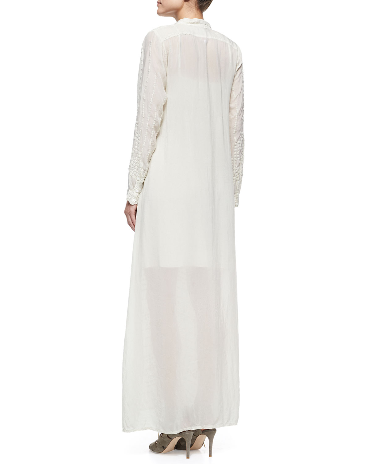 Lyst - Johnny Was Georgette Button-front Long Dress in White