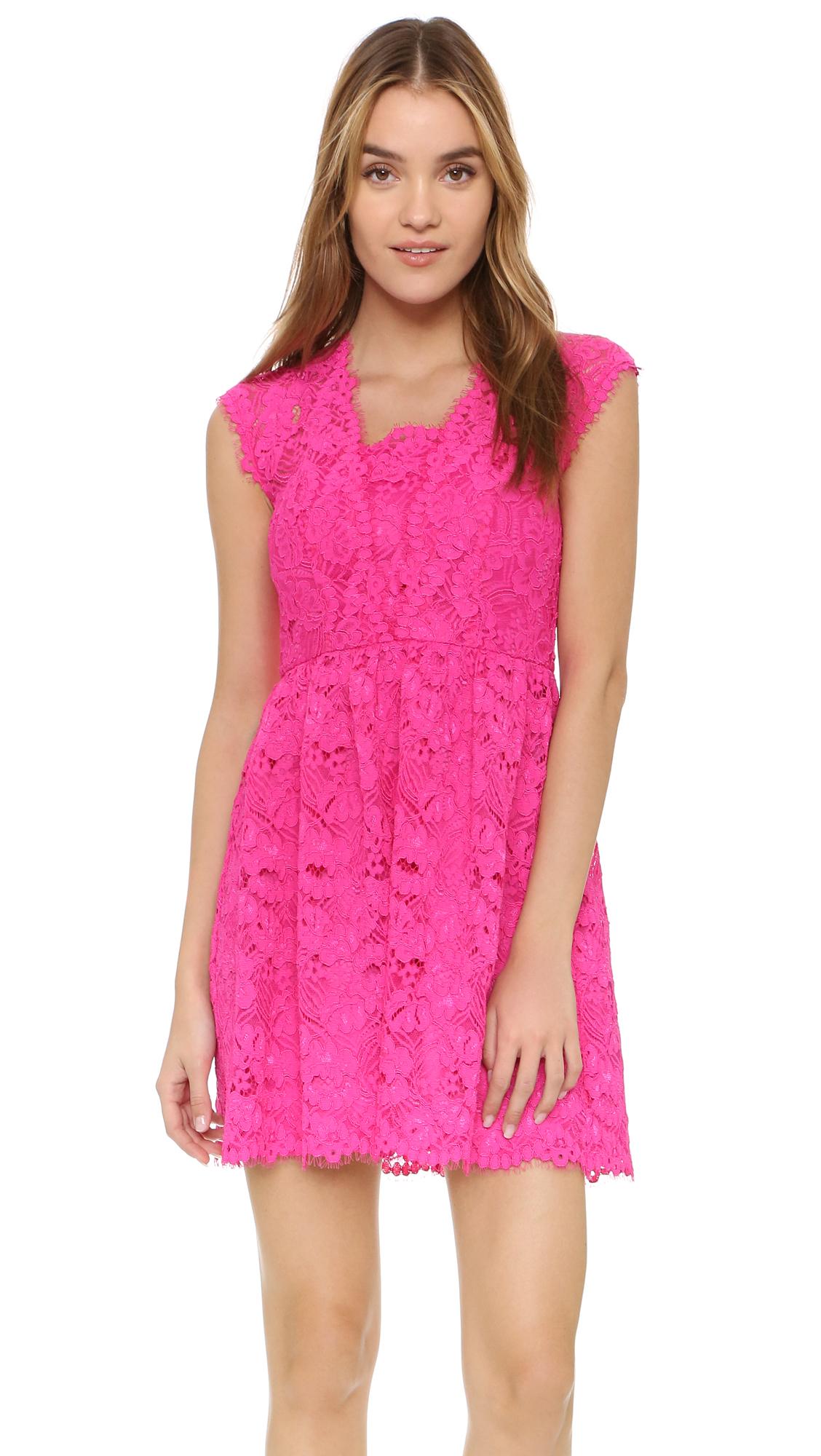 Shoshanna Vani Lace Dress in Pink   Lyst