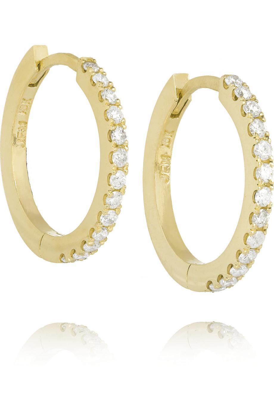 Jennifer Meyer 18-karat Gold Diamond Hoop Earrings k8i4p