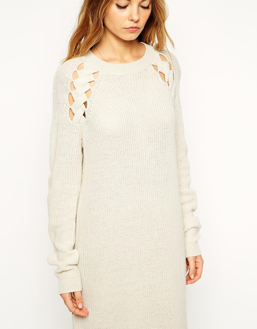 Asos Midi Jumper Dress With Cut Out Cable Detail in Natural | Lyst
