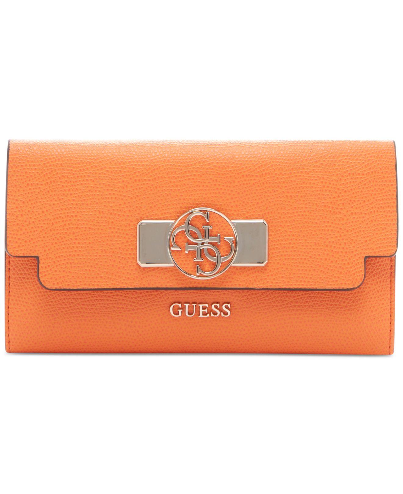 Lyst - Guess Cynthia Slim Clutch Wallet in Orange 2020edfb5f73f