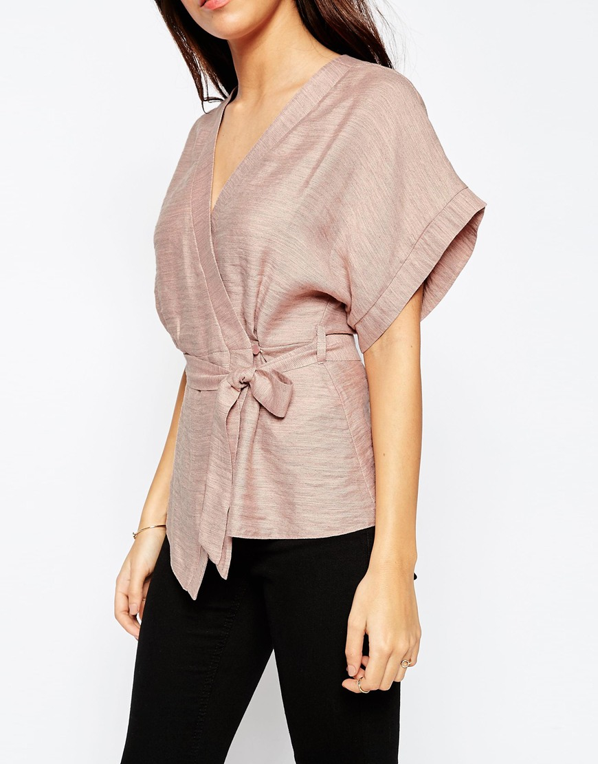 6c7a50b986007 Lyst - ASOS Casual Obi Band Wrap Blouse - Pink in Pink