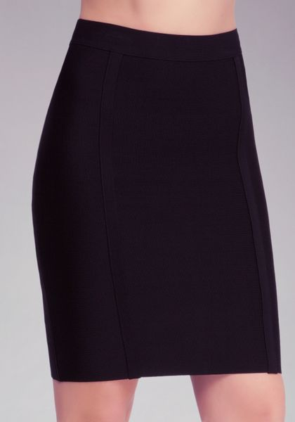 bebe solid knit pencil skirt in black lyst