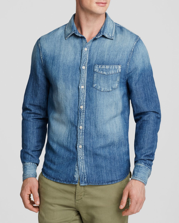 Joe 39 s jeans linen cotton regular fit button down shirt in for Denim button down shirts
