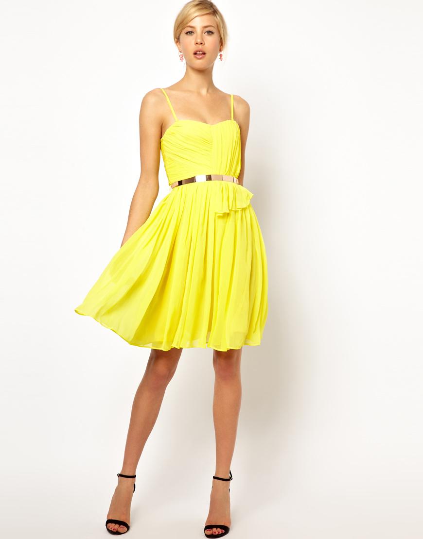 Lyst - Mango Chiffon Drape Bustier Dress in Yellow c6045aeaa4a