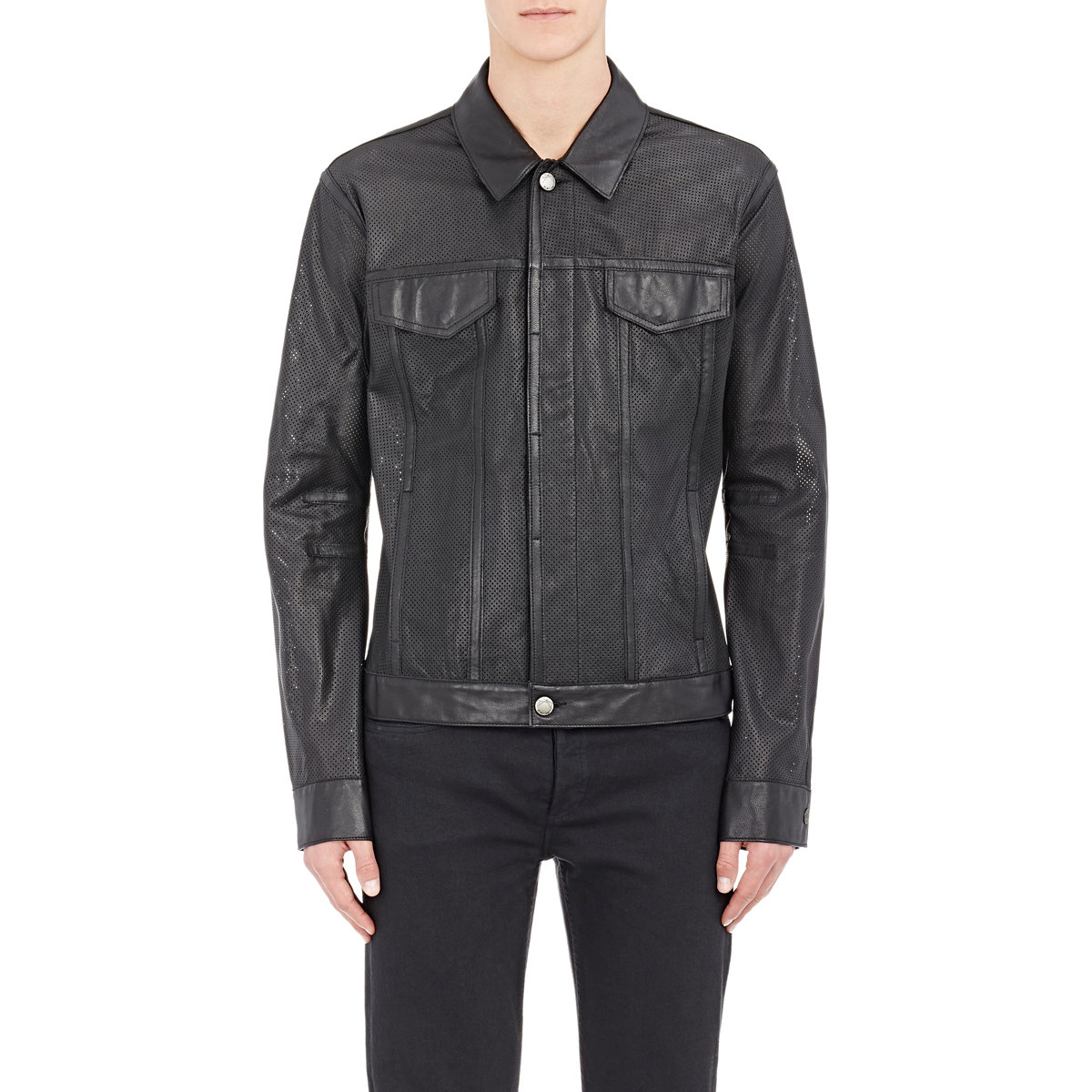 Helmut lang Perforated Leather Jacket in Black for Men | Lyst