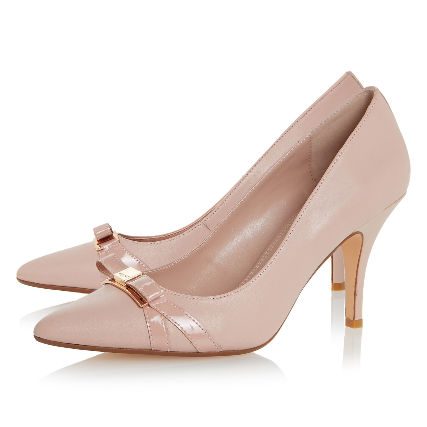 dune anora stiletto heeled bow court shoes in pink lyst