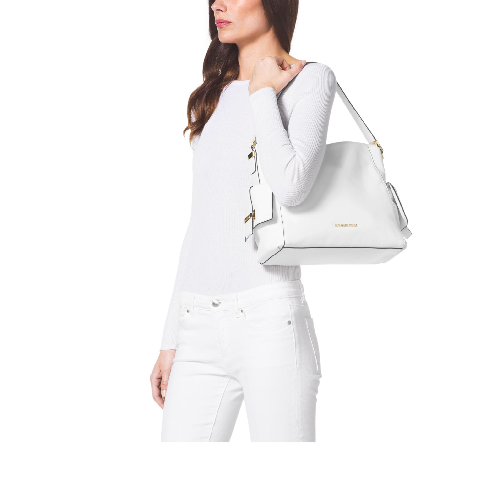 775f41687063 Michael Kors Marly Large Leather Shoulder Bag in White - Lyst
