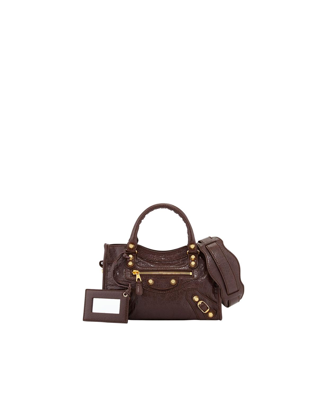 balenciaga giant 12 golden mini city bag in brown lyst. Black Bedroom Furniture Sets. Home Design Ideas