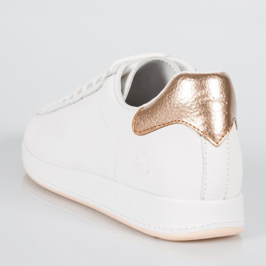 89e256fbad0 Lyst - Paul Smith Women s White Leather  rabbit  Sneakers With Gold ...