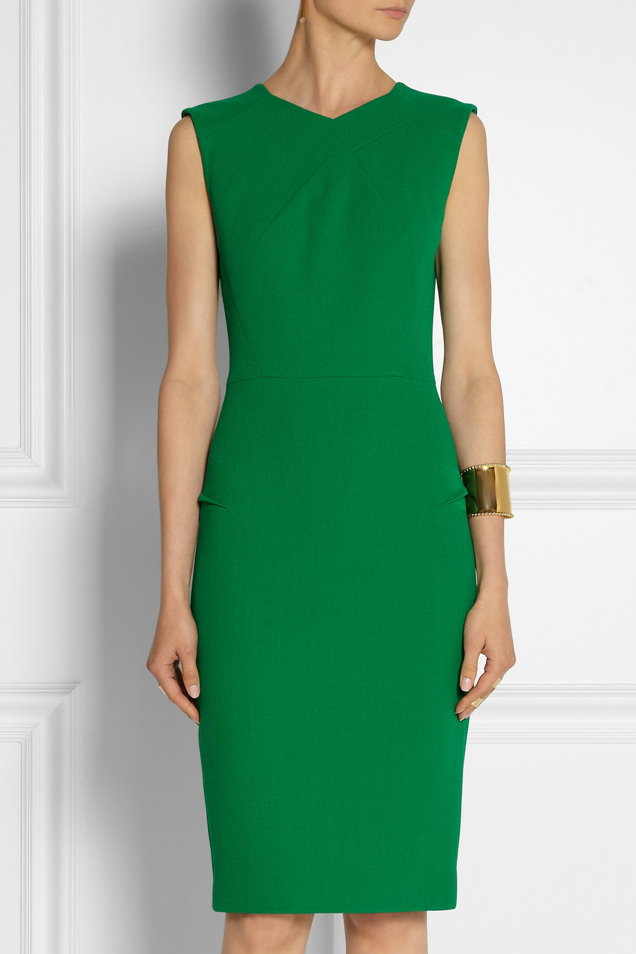 Roland Mouret Sesia Double Faced Wool Crepe Dress In Green
