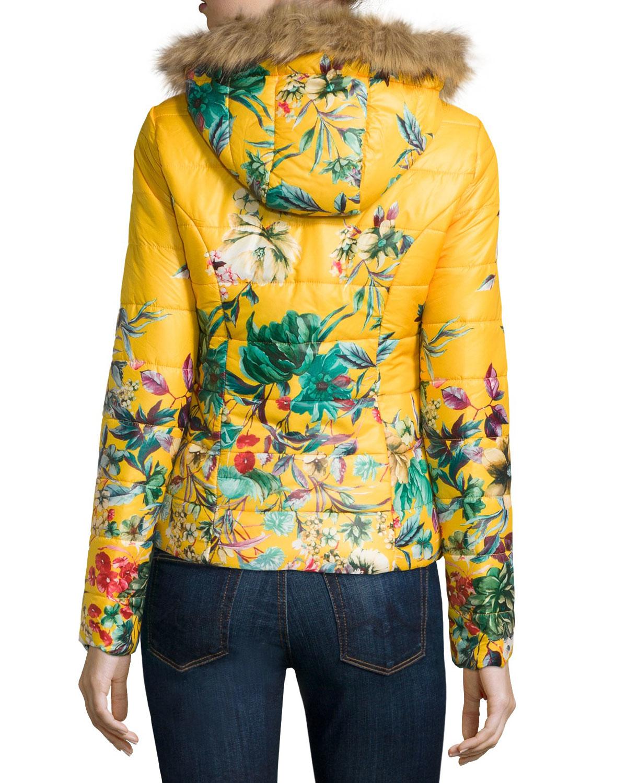 Lyst John Jenn Floral Puffer Jacket W Faux Fur Trim In
