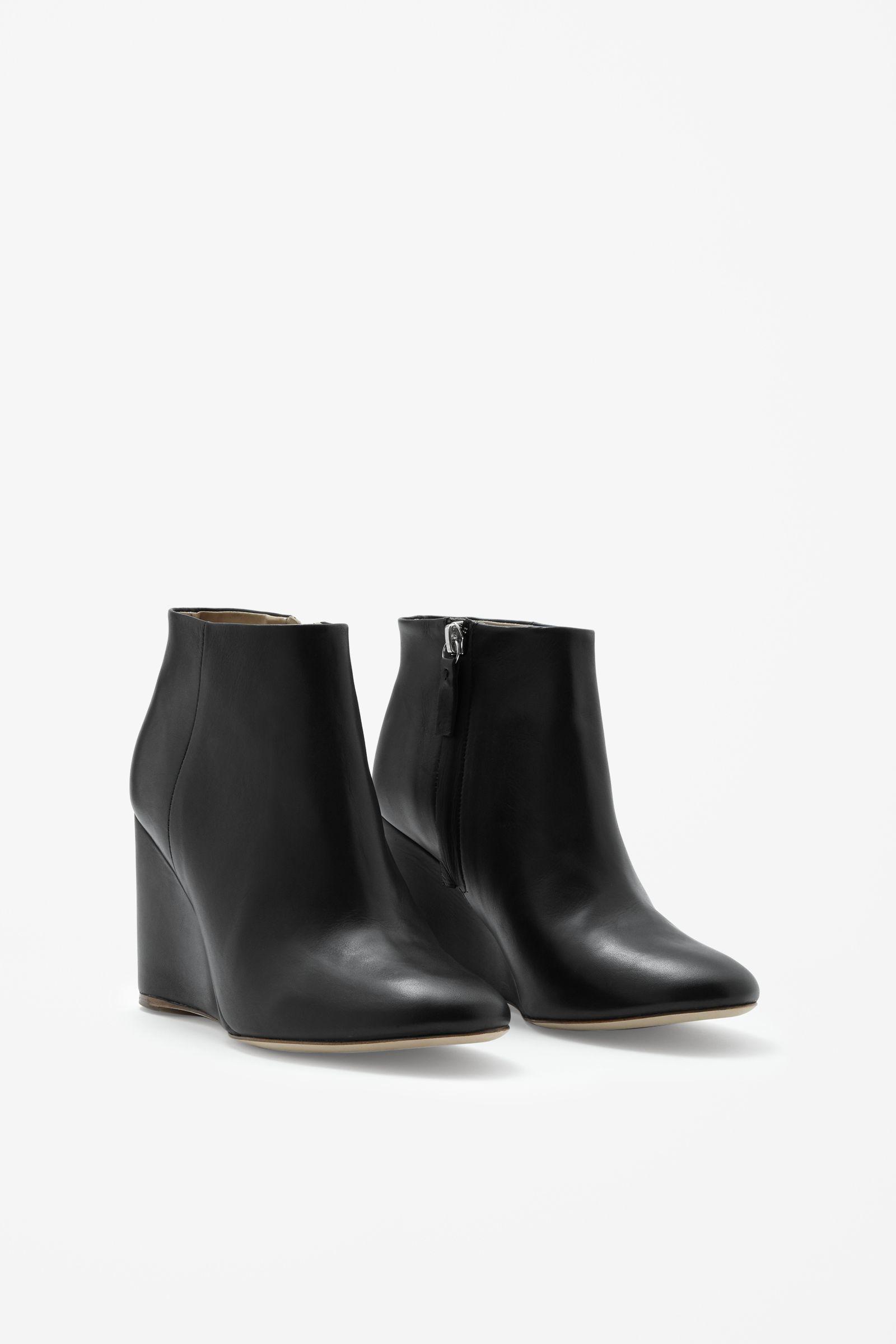 Black Wedge Heel Booties