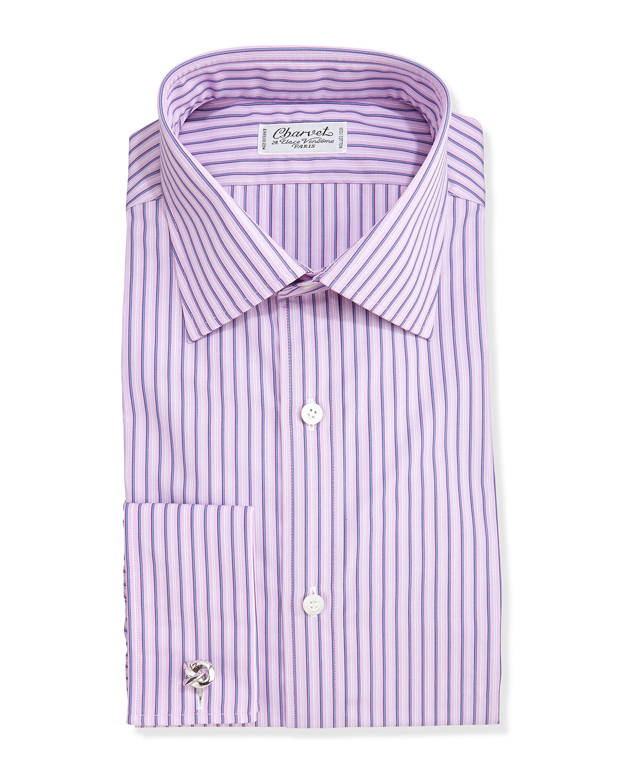 Charvet Purple Striped French Cuff Dress Shirt For Men