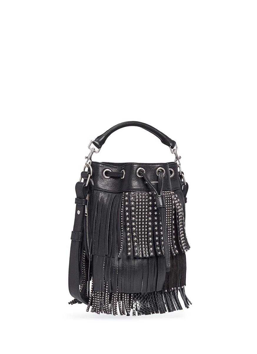 yves st. laurent bags - Saint laurent \u0026#39;emmanuelle\u0026#39; Small Stud Fringe Leather Bucket Bag in ...