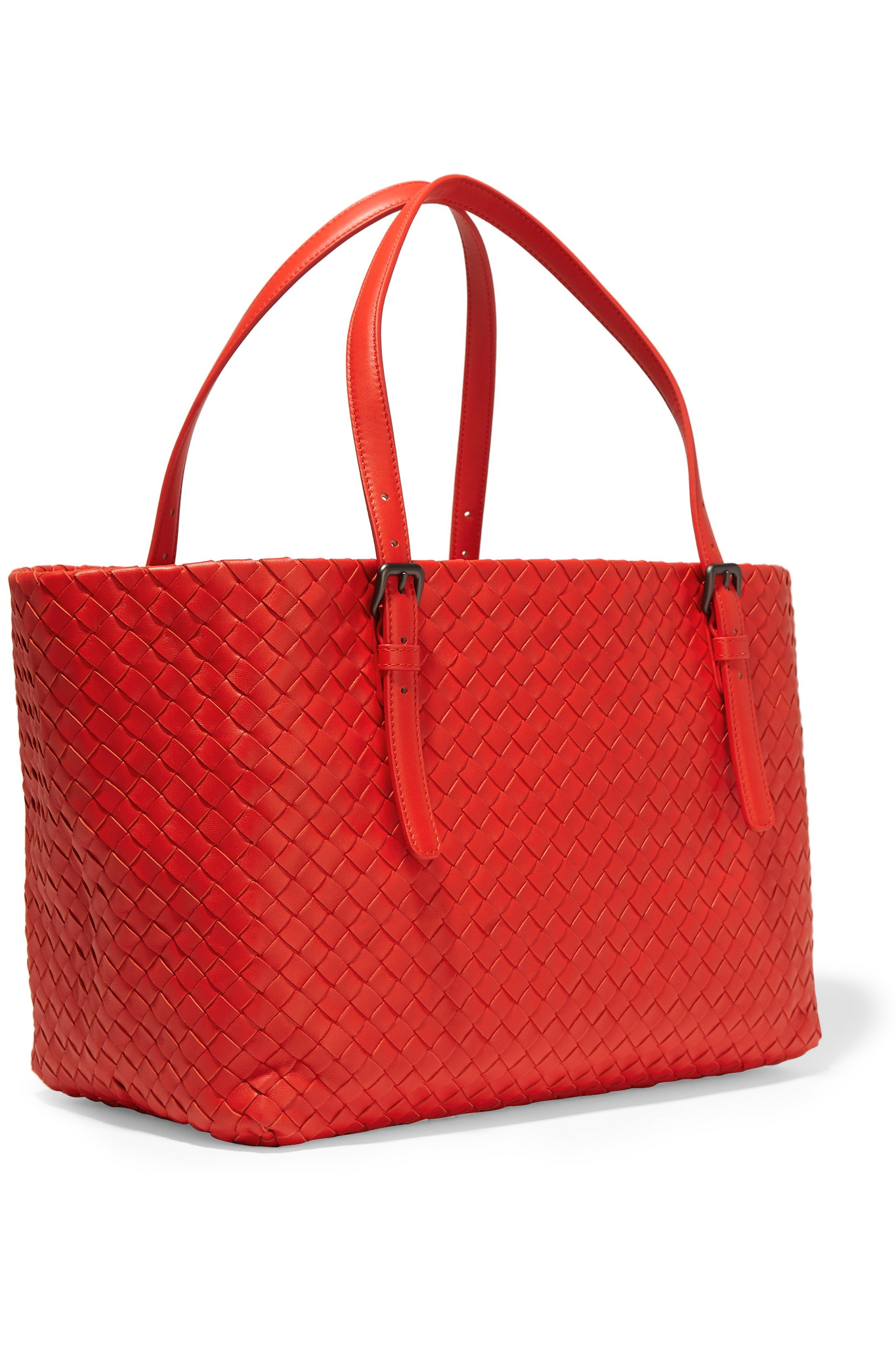 Bottega Veneta Shopper Medium Intrecciato Leather Tote in Red - Lyst 1cd8aba66525a
