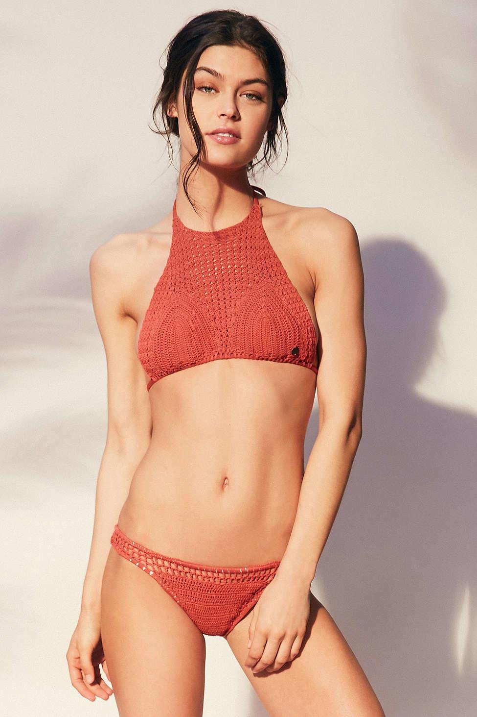 af6407dfcd Lyst - Billabong Hippie Hooray High Neck Bikini Top in Brown