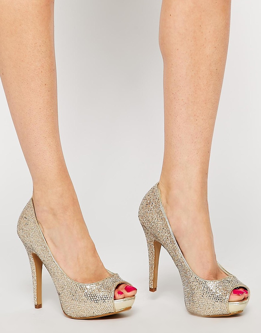 15dee514eea Lyst - ALDO Nean Gold Glitter Peep Toe Heeled Shoes in Metallic