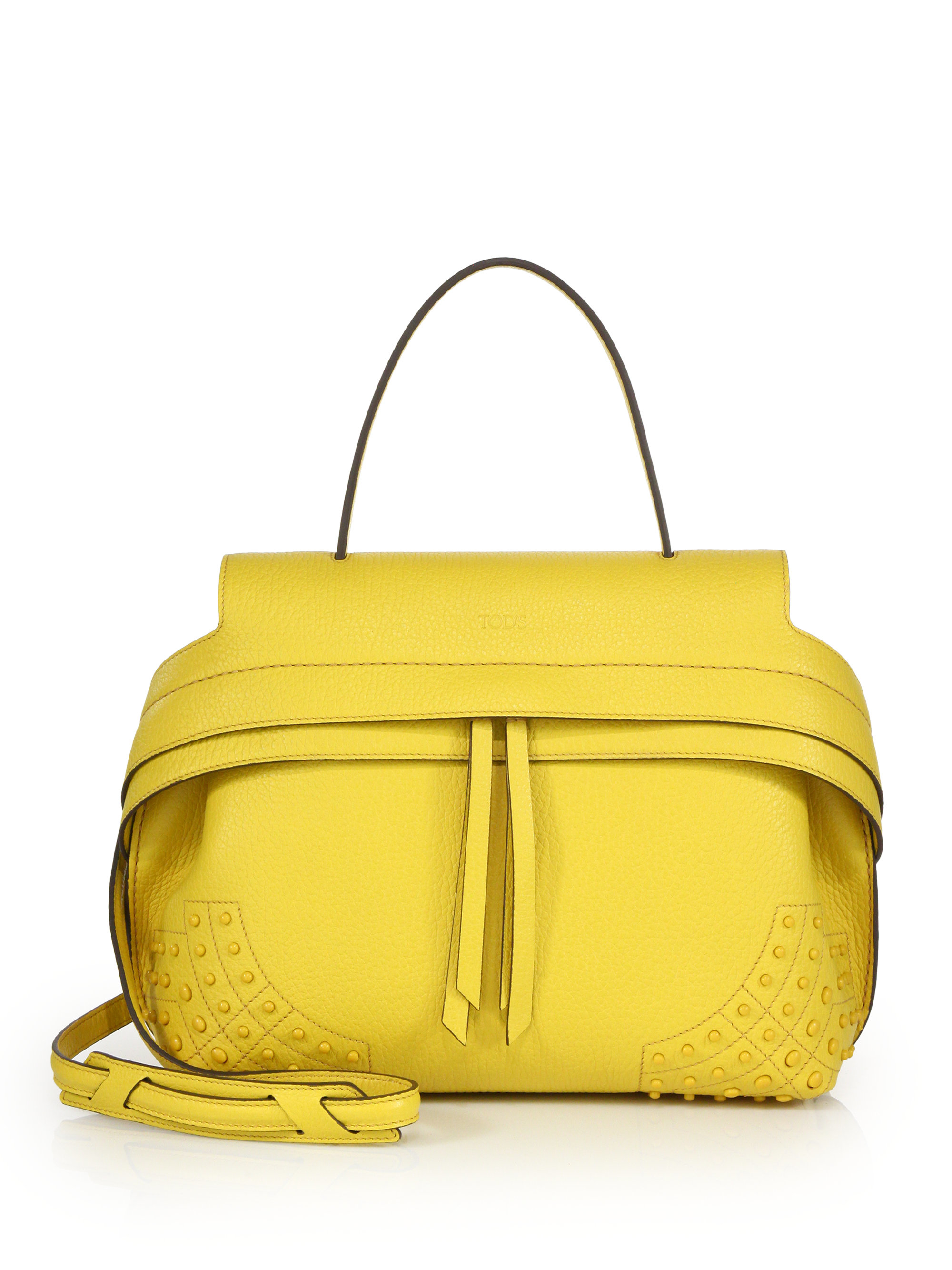 Tod's Wave Small Gommini Leather Satchel in Yellow