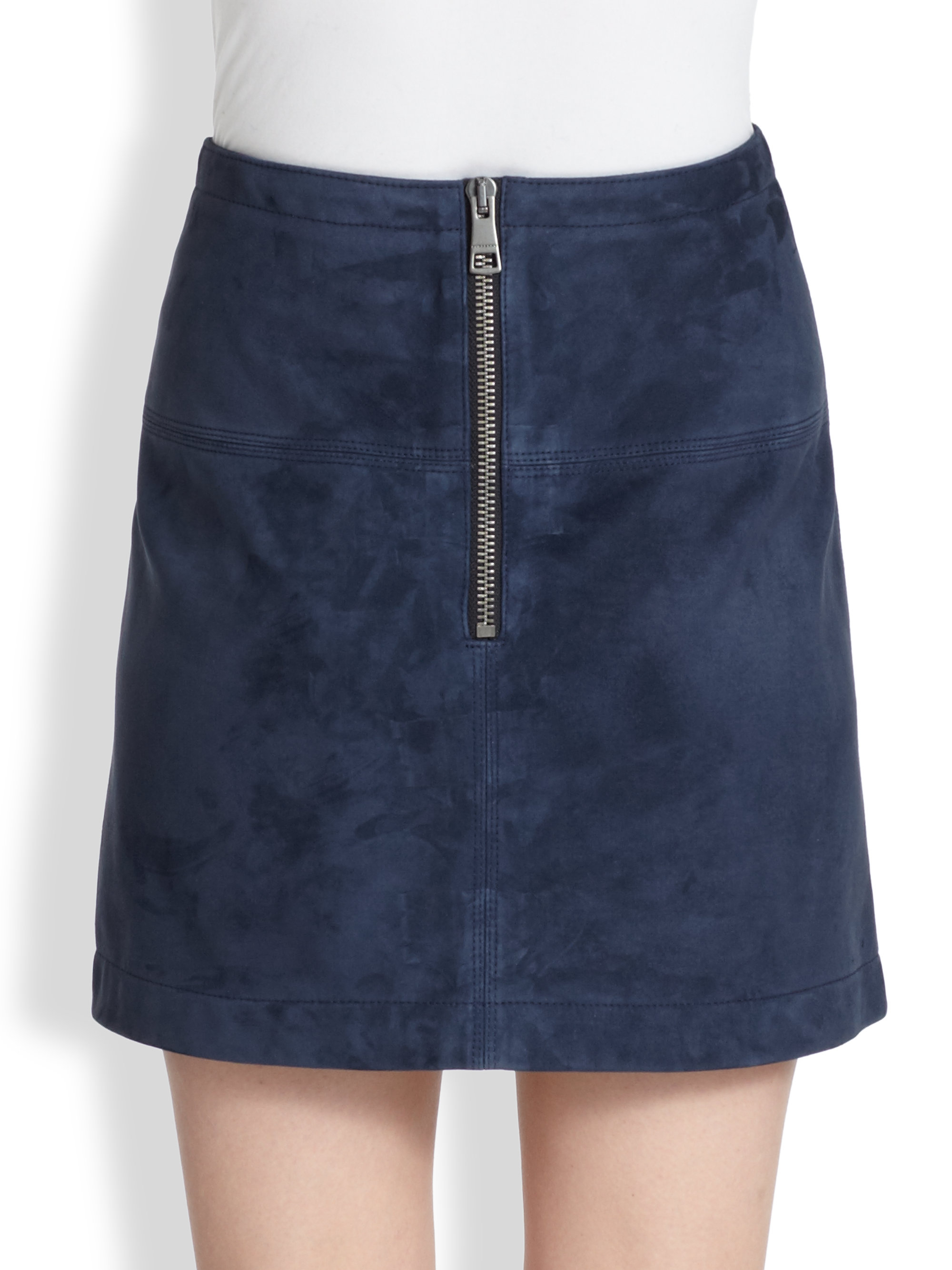 burberry brit suede skirt in blue pewter lyst