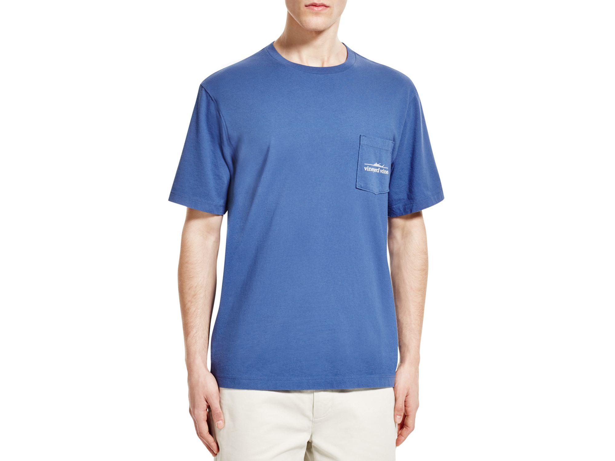 Vineyard vines fishline pocket tee in blue for men lyst for Vineyard vines fishing shirt