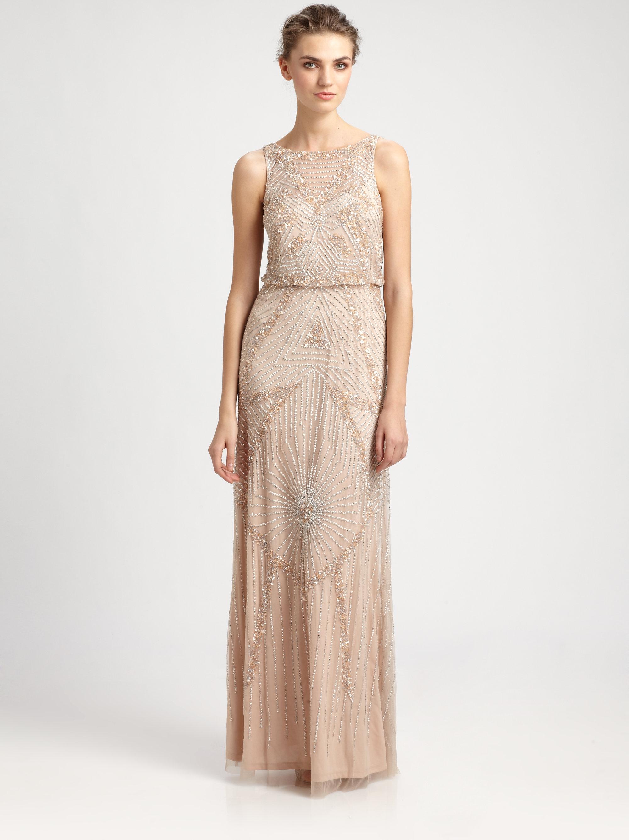 Sleeveless Beaded Blouson Gown With Illusion Details | Lauren Goss