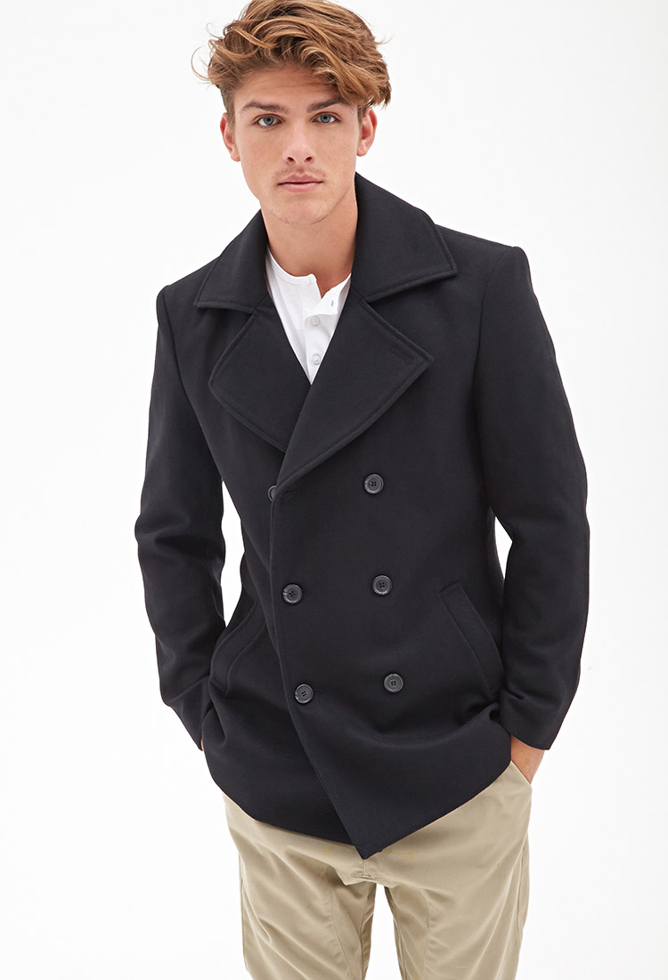 Forever 21 Wool-blend Peacoat in Black for Men | Lyst
