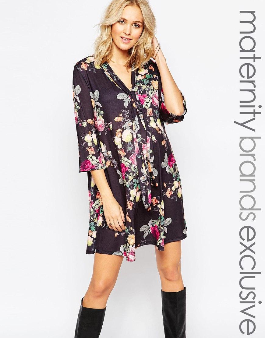 5d79d53c9e579 Bluebelle Maternity Floral Print Tie Neck Skater Dress - Lyst