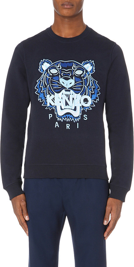 1e0316721a05 Lyst - KENZO Tiger-embroidered Cotton-jersey Sweatshirt in Blue for Men