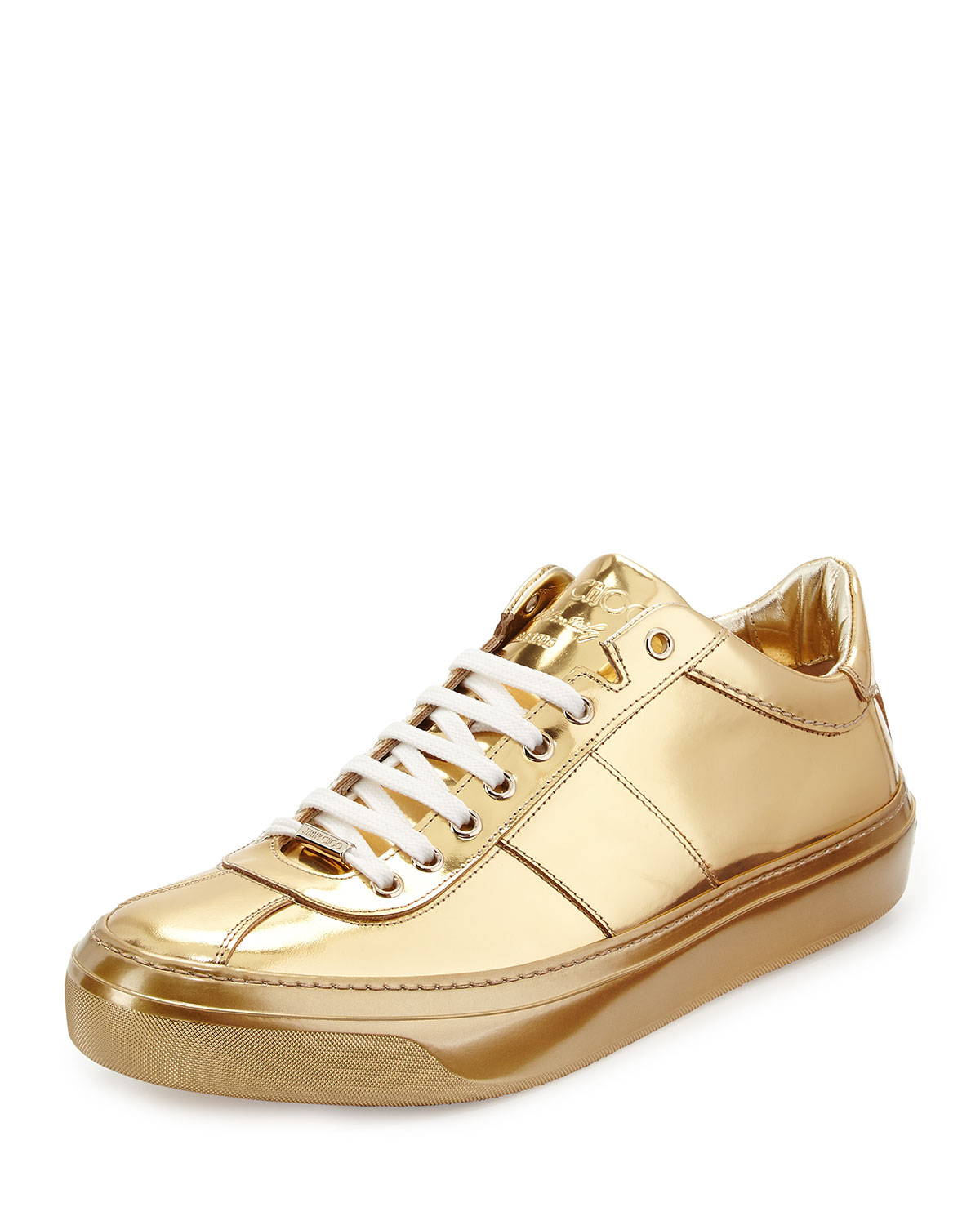 jimmy choo portman mirrored low top sneakers in metallic for men lyst. Black Bedroom Furniture Sets. Home Design Ideas