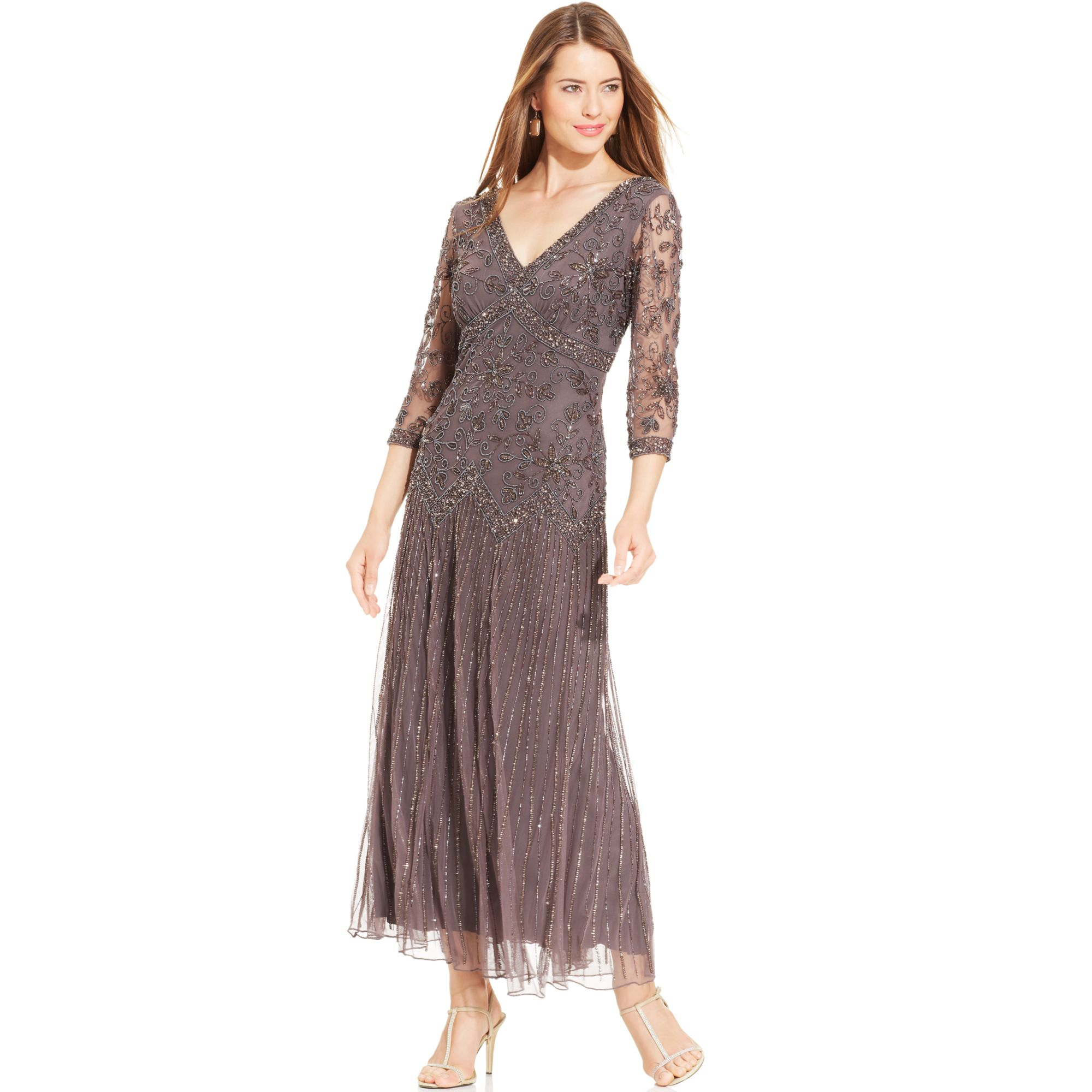 pisarro nights gray three quarter sleeve beaded gown product 1 21784669 0 406608698 normal