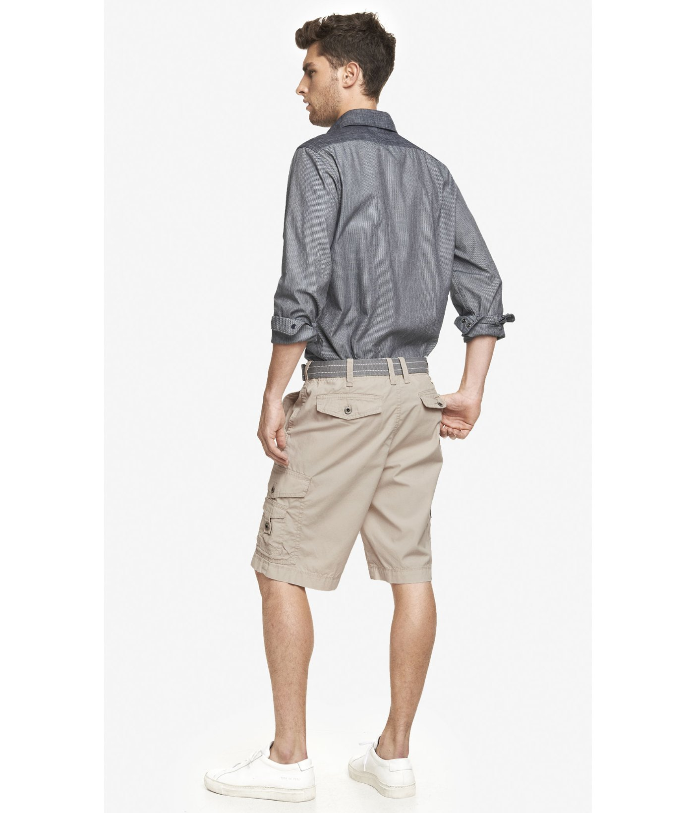 8a9543ec21 Express 10 Inch Belted Cargo Shorts in Natural for Men - Lyst