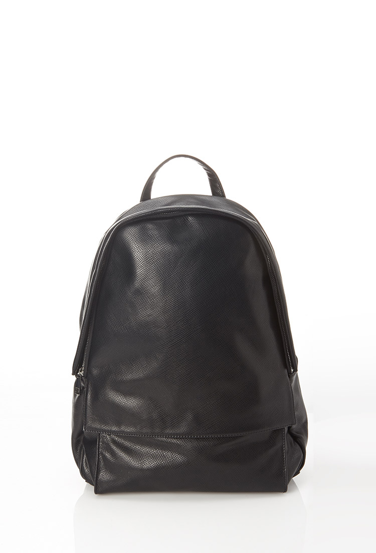Lyst Forever 21 Faux Leather Backpack In Black