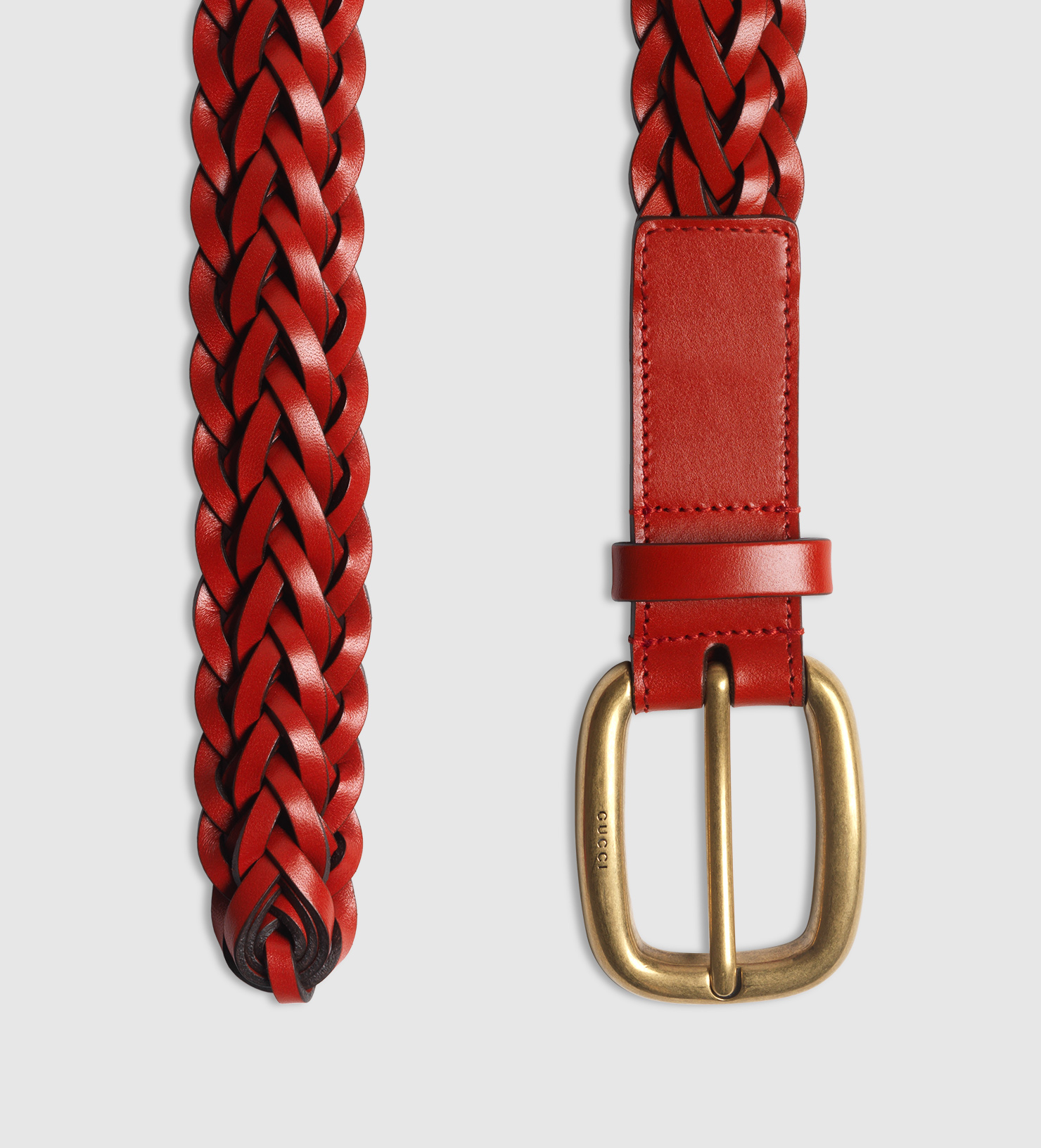 41e84a4b208 Gucci Hand-braided Leather Belt in Red - Lyst