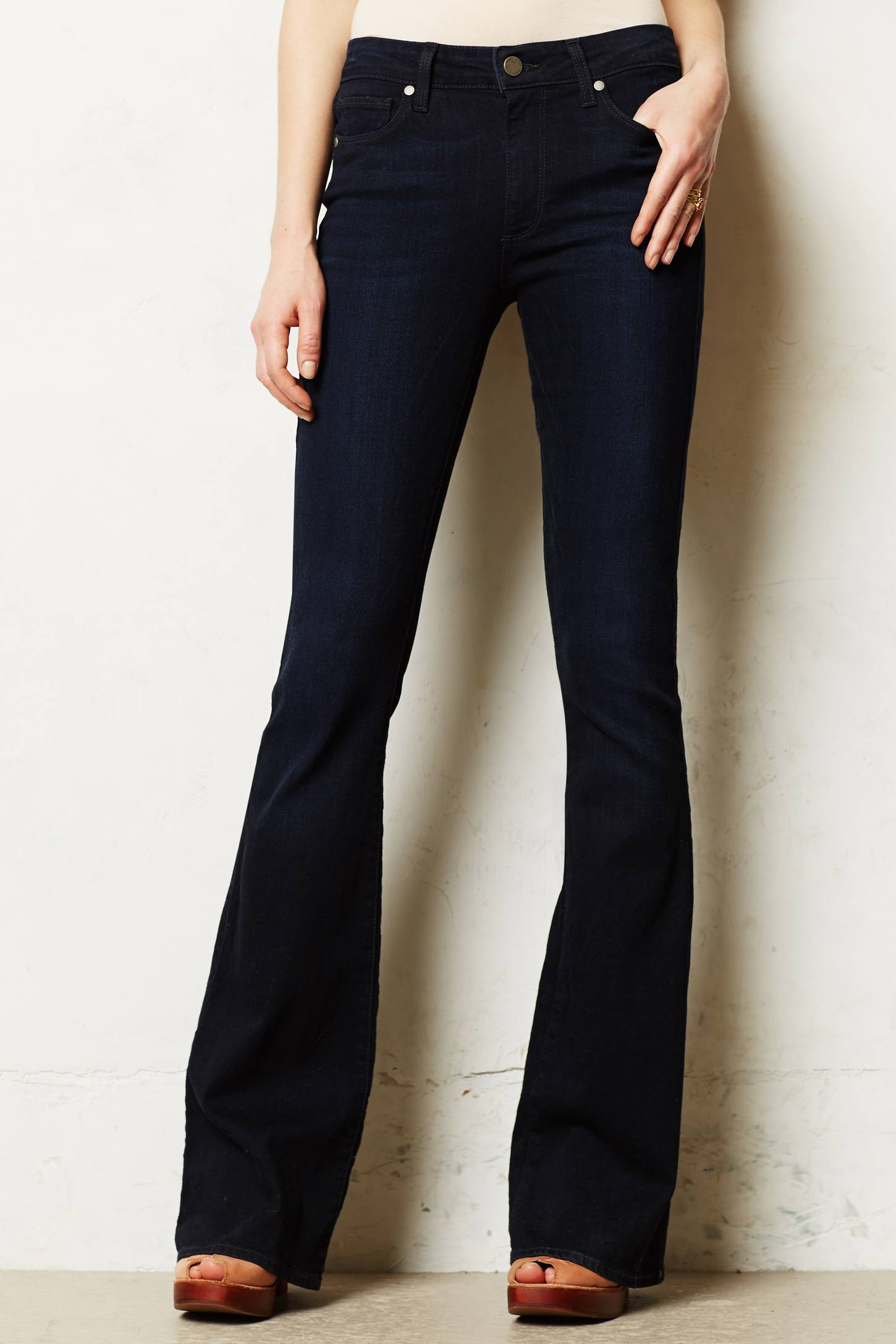 Paige High Rise Bell Flare Jeans in Blue | Lyst