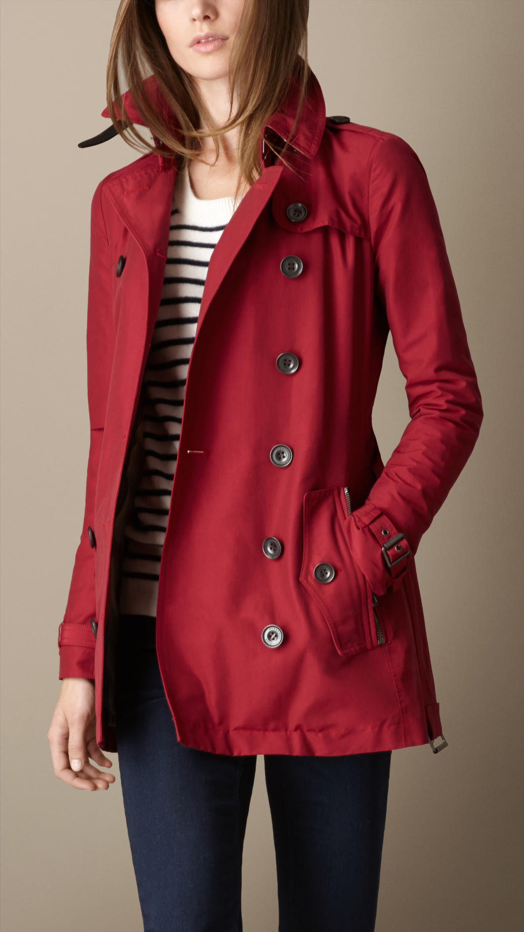 Lyst Burberry Short Leather Trim Faille Trench Coat In Red