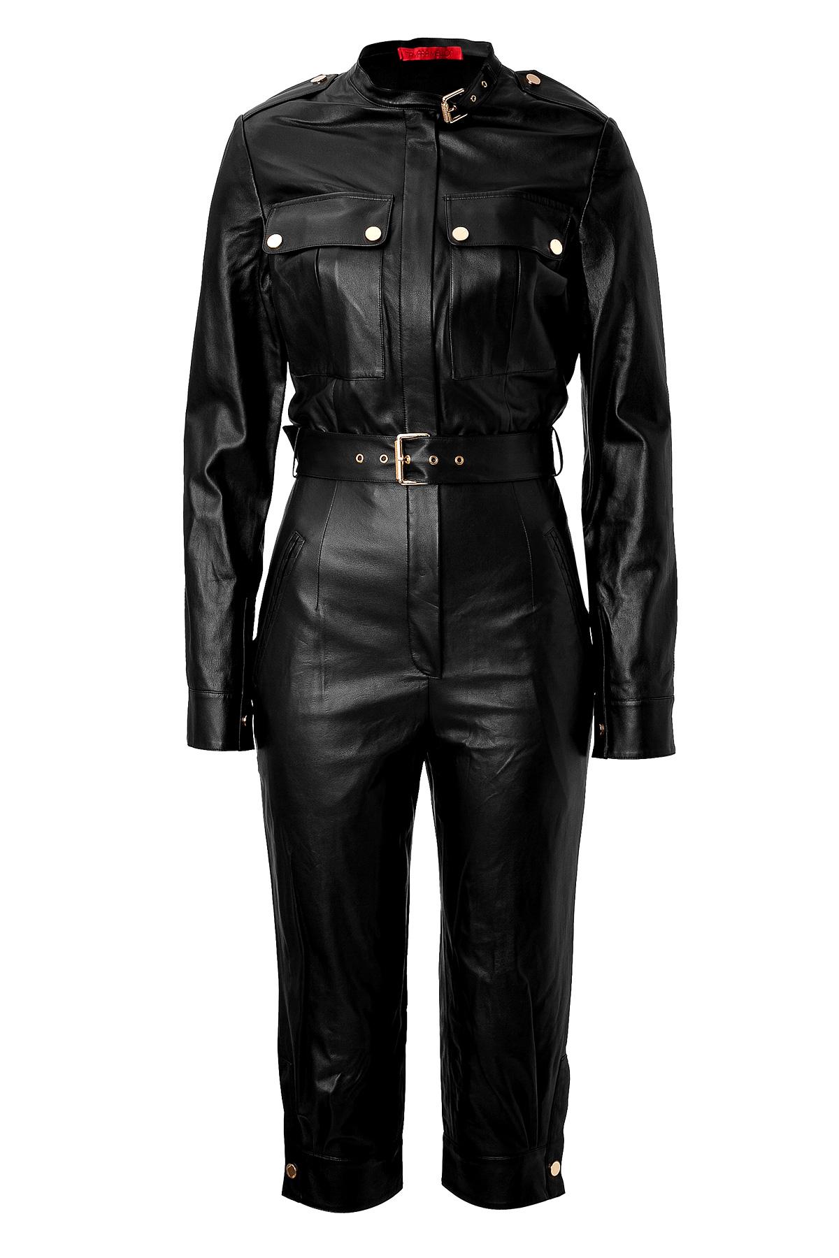 Lyst Tamara Mellon Leather Jumpsuit In Black