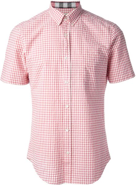 Burberry Brit Gingham Check Shirt In Pink For Men Pink