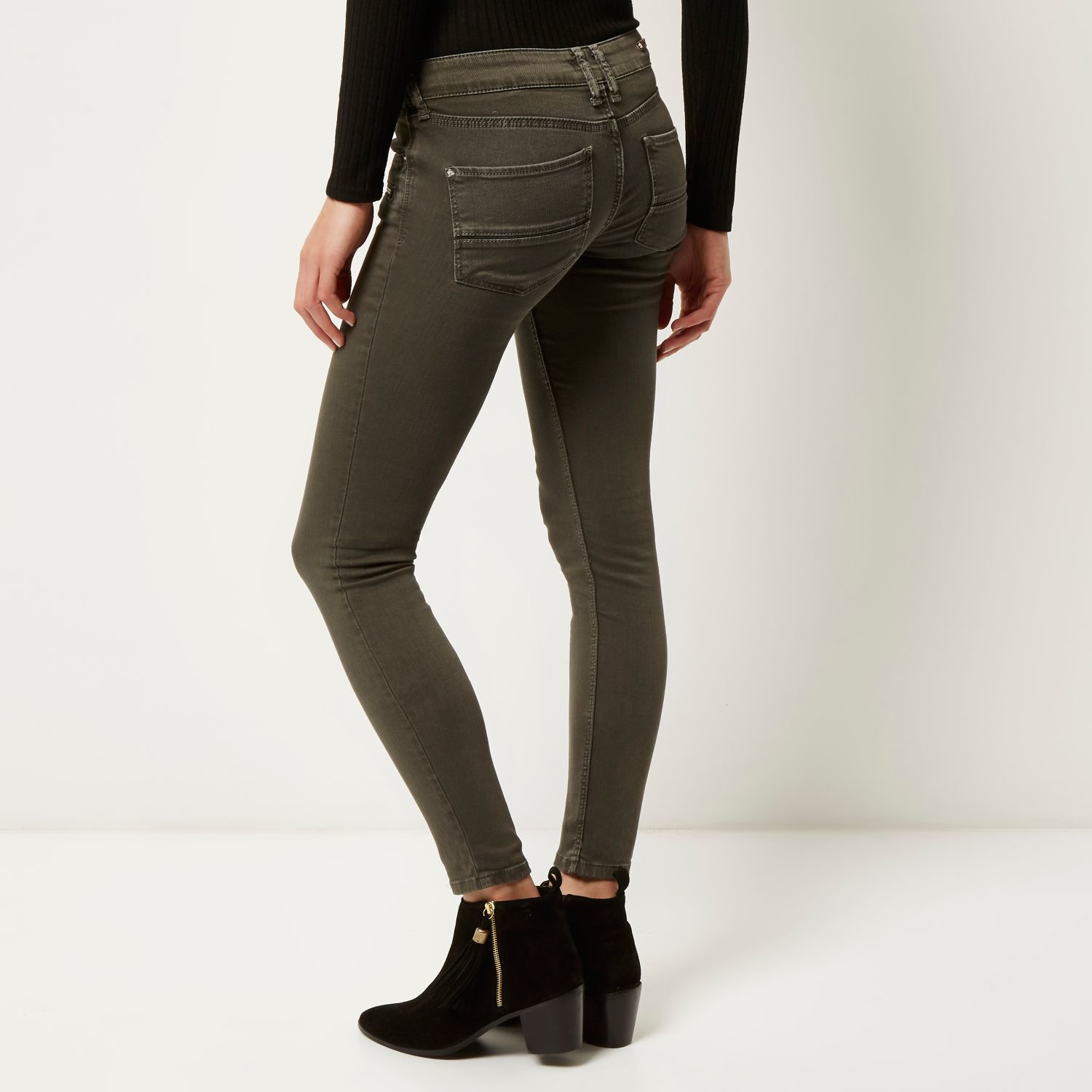 River island Khaki Low Rise Zip Amelie Superskinny Jeans in