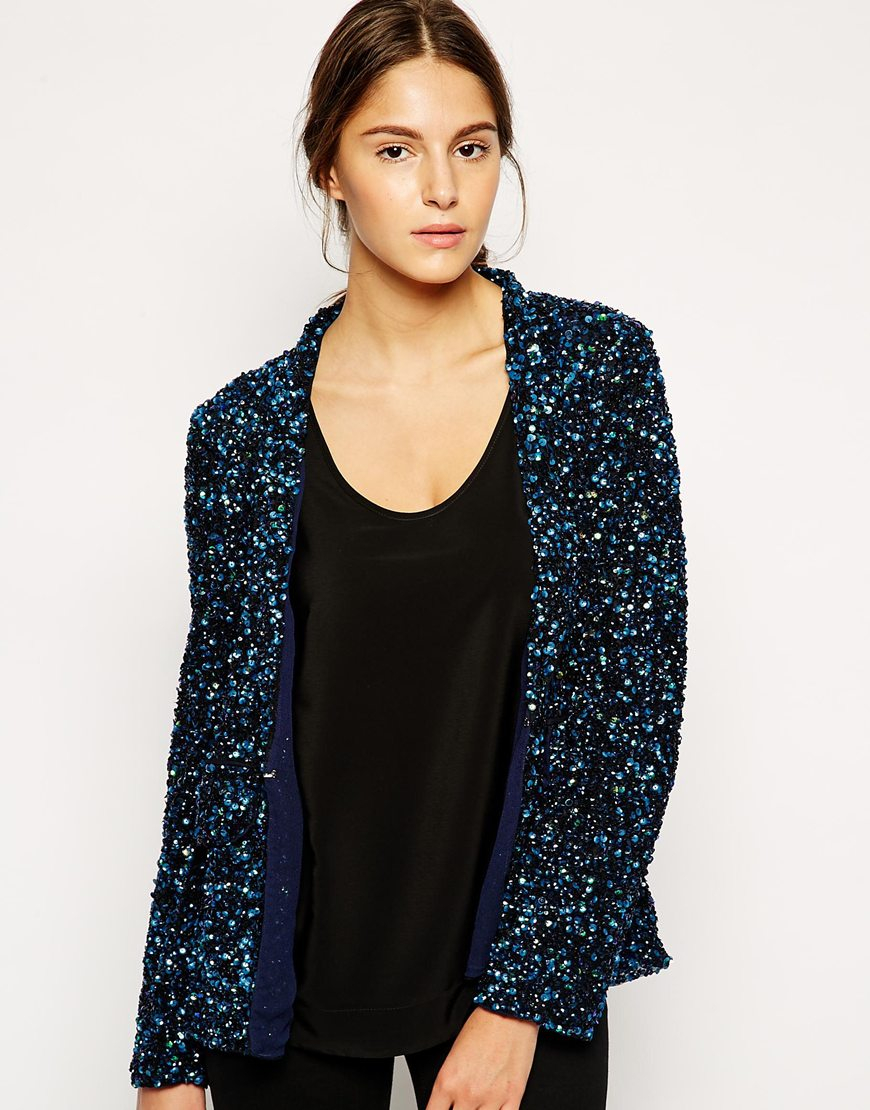 Dress gallery Sequin Cardigan in Blue | Lyst
