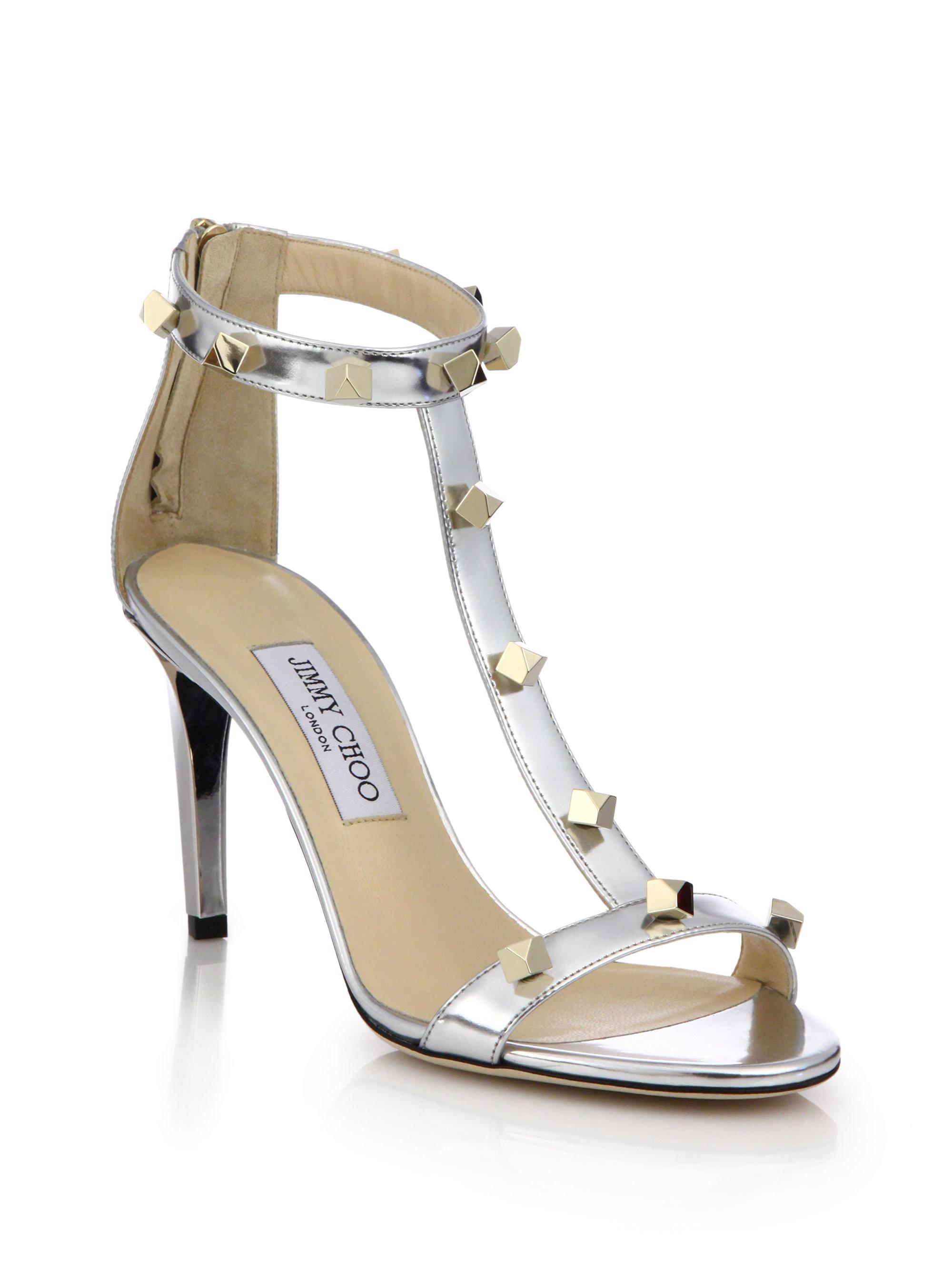 f8e73513c2d Lyst - Jimmy Choo Lamba Studded Metallic Leather Sandals in Metallic