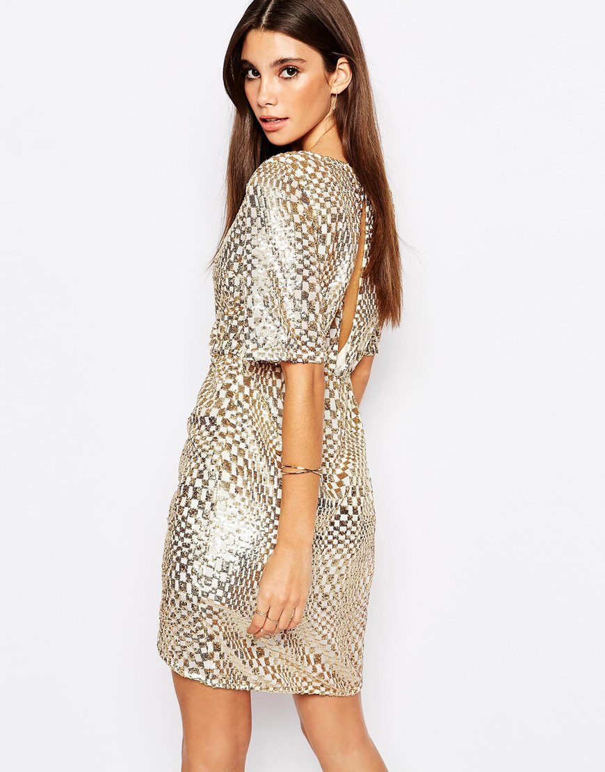 Look - Gold Asos sequin skirt pictures video